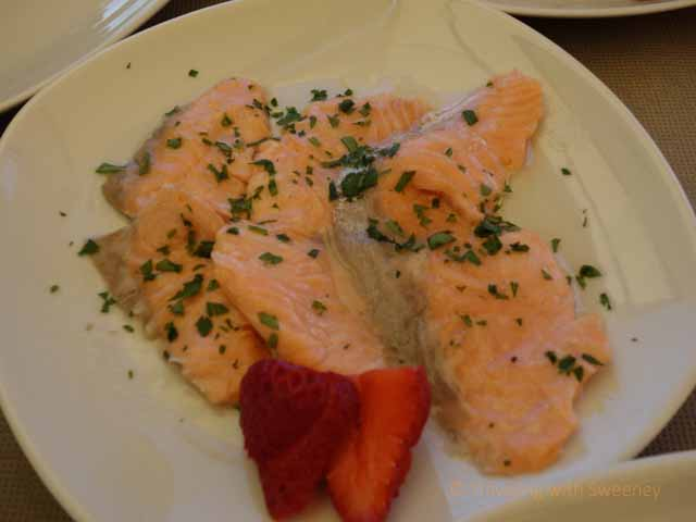"""Tasty, but not local salmon dish served at Balnearea Beach, Otranto, Italy"""