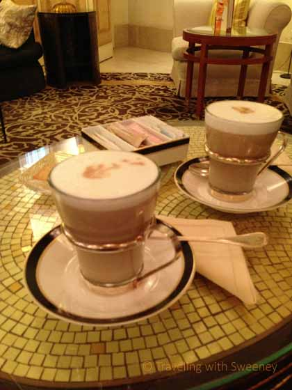 """""""Perfect lattes in Il Foyer at the Four Seasons Hotel Milano"""""""""""