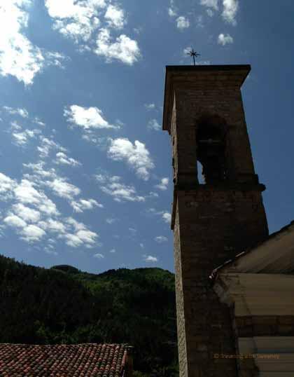 """""""Bell tower of Chiesa della Compagnia in Portico di Romagna, Italy"""""""