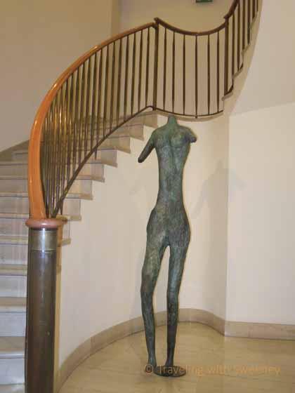 """Sculpture near staircase at Four Seasons, Milan"""