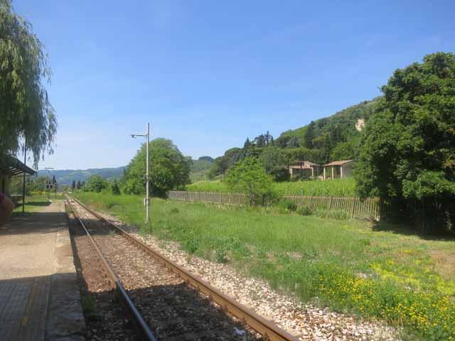 """Railway tracks at Fognano station , Brisighella municipality of Fognano"""