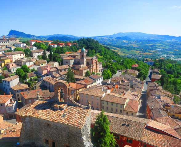 """Rooftops of Verucchio with San Marino is the distance"""