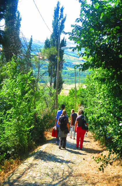 Walking with our guide, Stefano to Borgo Sant'Antonio