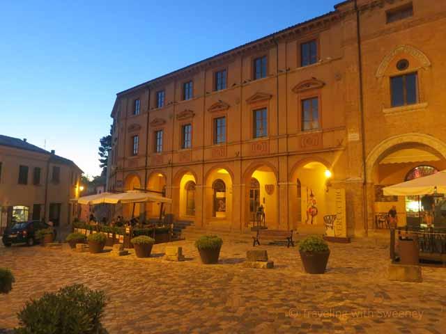 """Piazza Malatesta, Verucchio, Italy at night"""