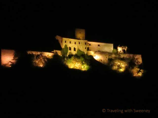 """Malatesta Fortress from Il Casale della'Arte at night in Verucchio"""