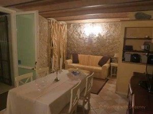 """Living and dining area at La Casa dietro Al Teatro, an albergo diffuso in Verucchio, Italy"""