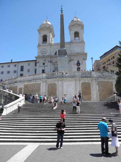 """Visitors at the Spanish Steps in Rome, Italy"""
