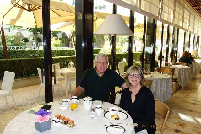 """""""Dining in Milan style - Cathy Sweeney and Mr. TWS in La Veranda restaurant at the Four Seasons Milan, Italy"""""""