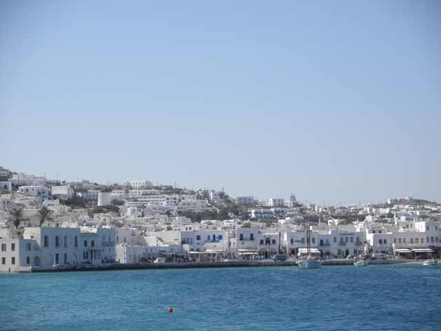 """A view from the harbor in Mykonos"""