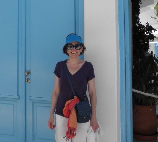 """Anita Finlay in Mykonos (doing her best imitation of a bee)"