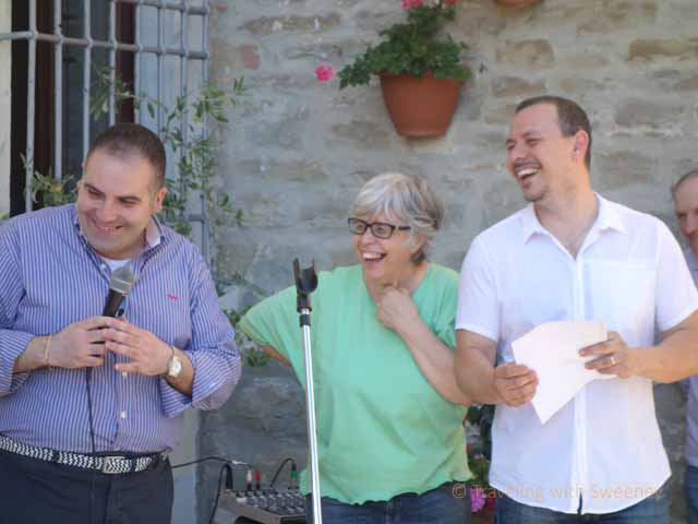 """""""Mayor Mirko Betti, Maris Cameli, Massimiliano Cameli at Portico in Arte ceremony, Portico di Romagna, Italy"""""""