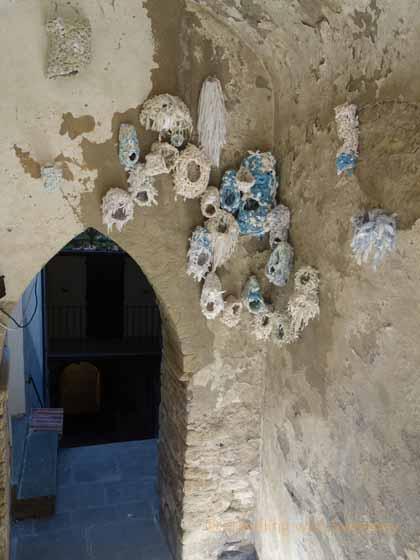 """""""Elena Hamerski's installation of torn sheets at Portico in Arte, Portico di Romagna, Italy"""""""