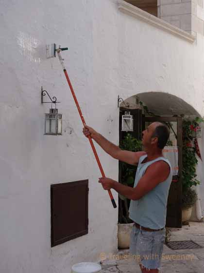"""Well-maintained buildings of Locorotondo are regularly painted"""