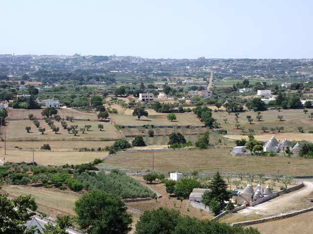 """View of the fields and trulli in the countryside from Locorotondo"""