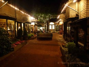 """Courtyard in Carmel, California at night"""