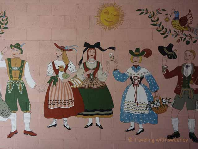 """Mural by Maxine Albro painted in 1957greets visitors to Hofsas House"""