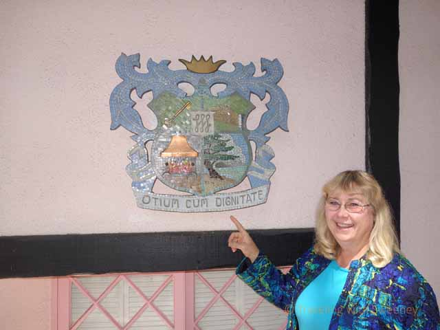 """Carrie Theis and family coat-of-arms at Hofsas House, Carmel"""