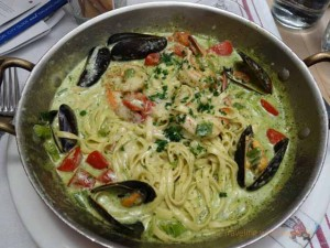 """Seafood pasta dish at Casanova restaurant in Carmel, California"""