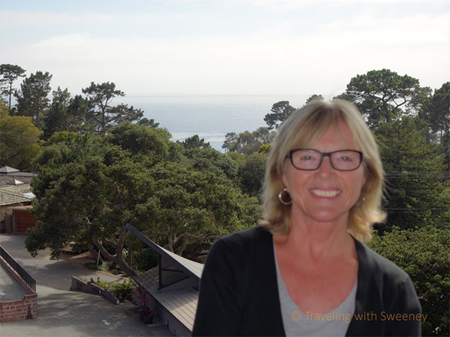 """View of Pacific Ocean from upper level of Hofsas House, Carmel-by-the-Sea, California"""
