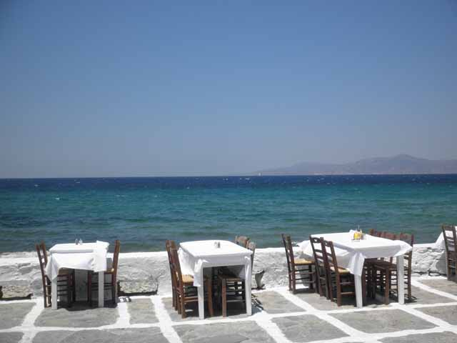 """Lunch on the harbor in Mykonos at The Alegro Café"""
