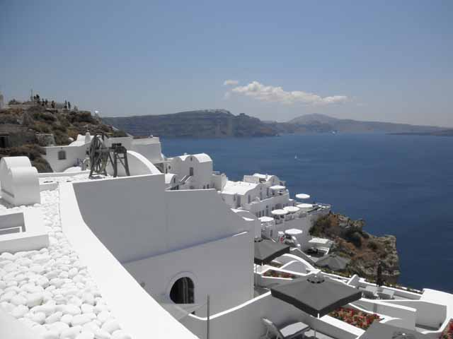 """First sight of Santorini upon arrival"""