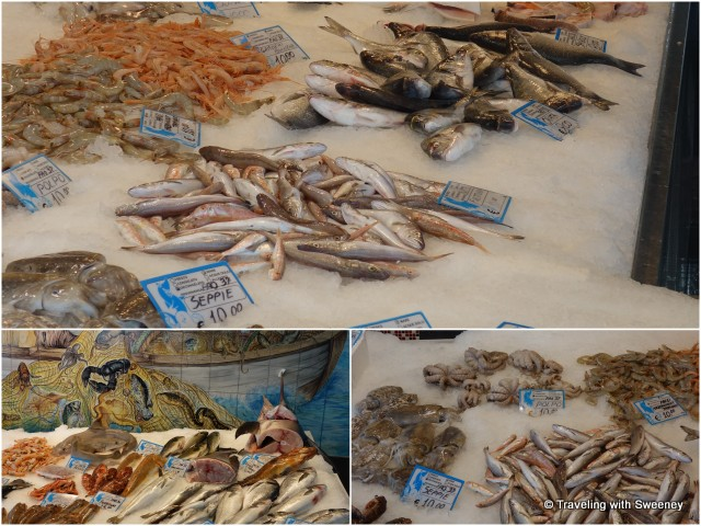 """Fresh seafood on display at fishmarket in Triggiano, Italy"""