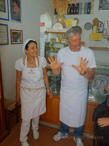 """Laura Di Maioli and husband, Michele, at Pasta Fresca Laura in Santarcangelo, Italy"""