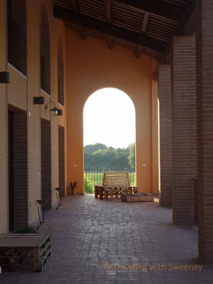 """Arched portico at Collina dei Poeti, Santarcangelo, Italy"""