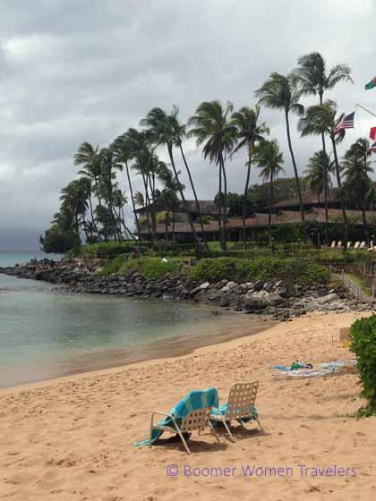 """Palm trees along the beach at Napili Kai Beach Resort"""