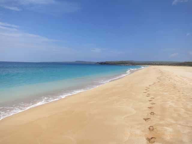 """Our footsteps on Papohaku Beach (Three Mile Beach) in Molokai"""