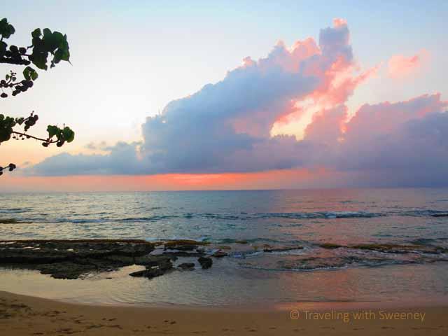 """Colorful clouds at Honokowai Beach Park at sunset"""
