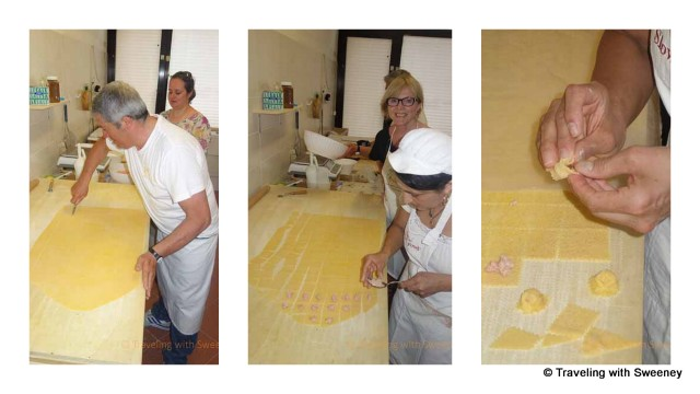 """Michele and Laura making cappelletti in Santarcangelo, Italy"""