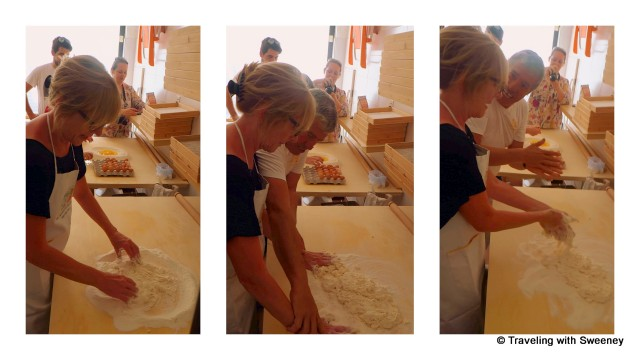 """Getting hands on instructions from Michele at Pasta Fresca Laura in Santarcangleo, Italy"""
