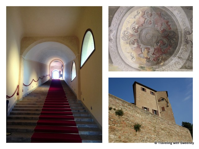 """Bishop's Fortress in Bertinoro, Italy - exterior and  interior staircase and ceiling"""