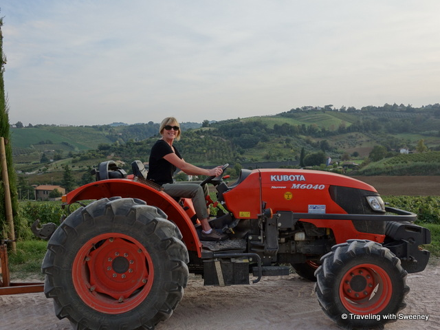 """Woman behind the wheel of a large tractor at a winery in Italy"""
