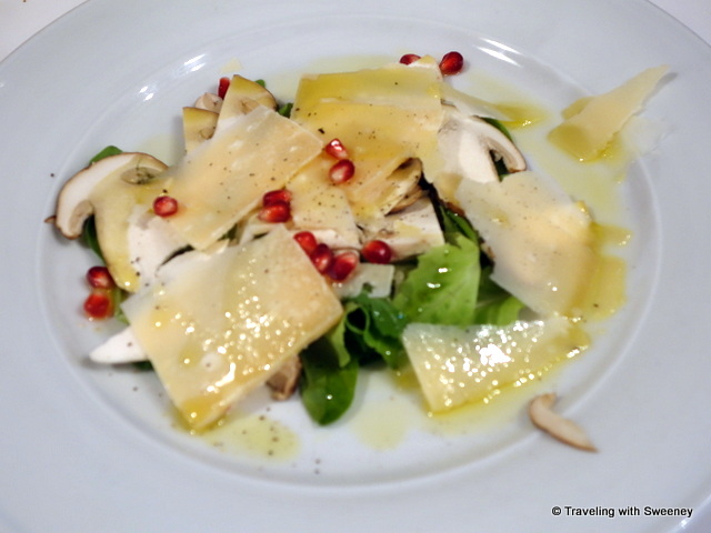 """Fossa cheese, mushrooms, rugola,  and pomegranate at Monte Paolo in Dovadola"""