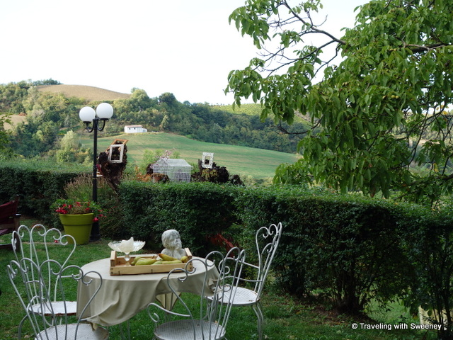 """Lovely view from lawn of Trattoria Montepaolo, Dovadola, Italy"""