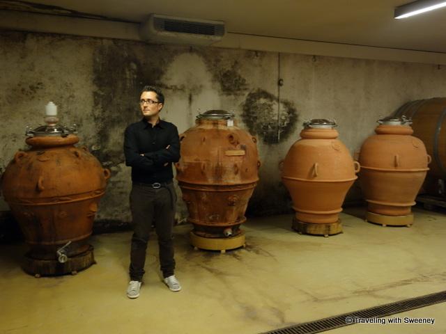 """""""Tenuta Masselina winemaker Andrea Celletti in the winery's cellar"""""""