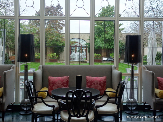 """Lobby lounge at the Four Seasons Dublin with a view to the courtyard"""