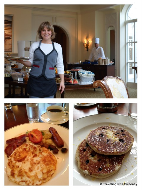 """Irish Breakfast and Lemon Ricotta Pancakes served with a smile by Reka at Four Seasons Dublin"""
