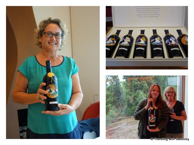 """""""Ruenza Santandrea holding a bottle of Vino della Anfore wine"""""""