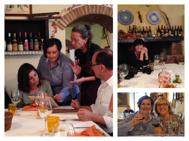 """Bloggers with Lisa Rodi and Gabriele Zelli at Trattoria Montepaolo in Dovadola, Italy"""