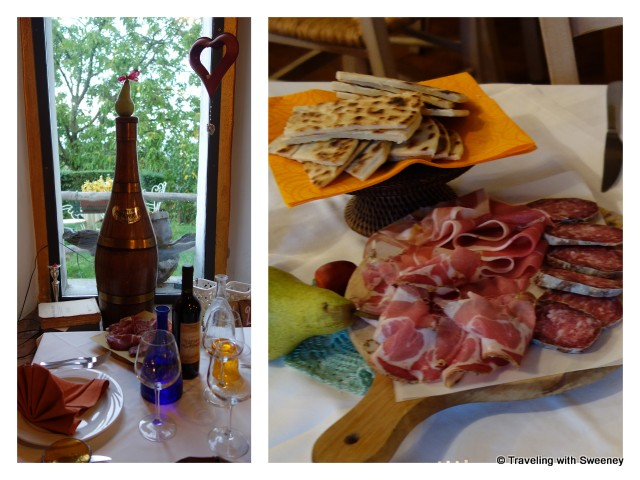 """Piadina and meats at Trattoria Montepaolo"""