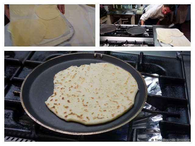 """In the Trattoria Montepaolo kitchen making piadinas"""