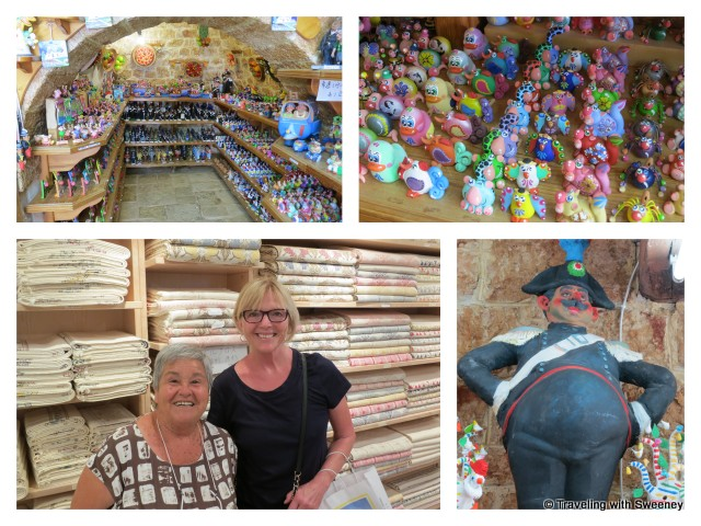 """In the Matarrese linen and souvenir shope with owner, Claudia Caporaso"""