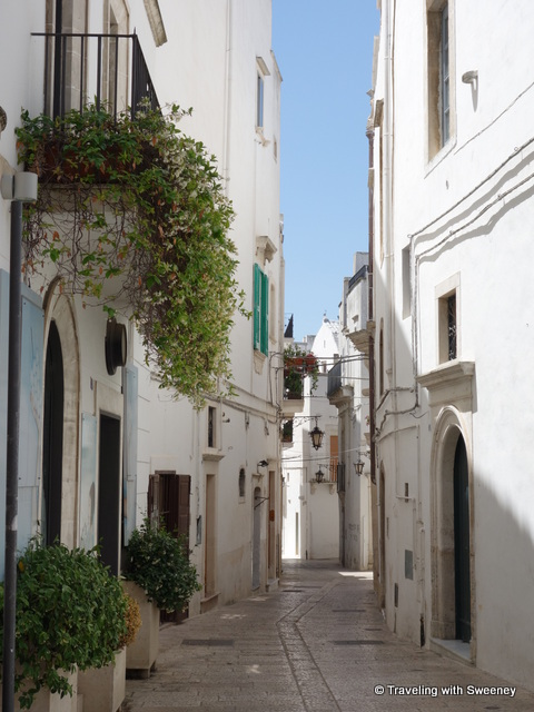 """Narrow lane lined with white-washed buildings of Martina Franca, Italy"""
