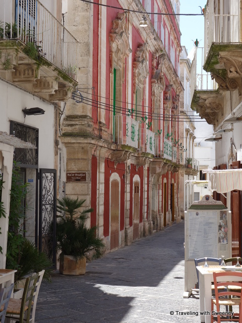 """A colorful contrast to the predominate white buildings of Martina Franca, Italy"""