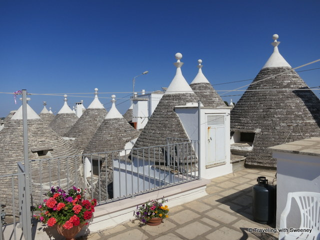 """A view of Alberobello trulli from the rooftop of Matarrese souvenir shop"""