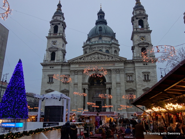 """Christmas market at St. Stephen's Basilica, Budapest"""