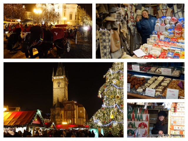 """""""Horse-drawn carriages and vendors at Prague's Christmas markets"""""""